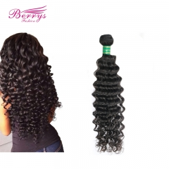 Berrysfashion 100% Human Hair 1pc Deep Wave/Curly Human Hair Weave Natural Color 100% Virgin Unprocessed Hair Extension