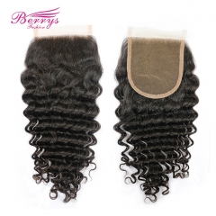 Berrys Fashion Lace Frontal Closure 4*4 Brazilian Deep Wave Virgin Hair Free Part Closure Bleached Knots Unprocessed Human Hair