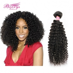 Berrys Fashion Hair 1pc Natural Color Peruvian Kinky Curly Virgin Human Hair Extension 100% Unprocessed Berrys Hair Products