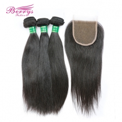 Best Quality Hair 3pcs Unprocessed Straight 100% Unprocessed Virgin Hair with 1pc Lace Closure 4x4 with Baby Hair and Bleached Knots