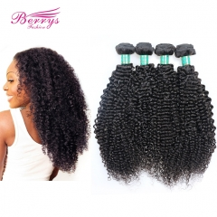 Berrys Fashion Beautiful Queen Hair Brazilian Virgin Hair 4 Bundles Kinky Curly Hair Weave Unprocessed Curly Brazilian Hair Extensions