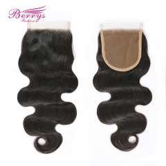 Berrys Fashion Hair Free/Middle Part 1pc Body Wave Lace Closure 4*4 with Baby Hair and Bleached Knots 10-20inch Unprocessed Virgin Human Hair