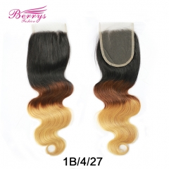 New Arrival 1pc Ombre 1B/4/27 Color 4*4 Body Wave Lace Closure