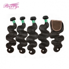 4pcs Brazilian Body Wave Virgin Human Hair with 1pc Lace Closure Free/Middle Part with Bleached Knots