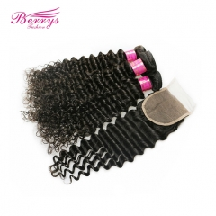 4 Bundles Peruvian Deep Wave/Curly Virgin Unprocessed Human Hair with 1pc Free Part Lace Closure 4x4
