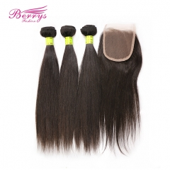 Berrys Fashion Hair 3 Bundles Malaysian Virgin Hair Straight with 4x4 Lace Closure Unprocessed Peerless Hair Extension