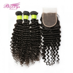 Berrys Fashion Hair 3pcs Malaysian Deep Wave Hair with 1pc 4x4 Lace Closure Bleached Knots and Baby Hair Unprocessed Virgin Human Hair