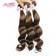 "Malaysian Body Wave Virgin Hair 3pcs/lot (12""-28"") Color #4 New Arrived Light Brown Malaysian Human"