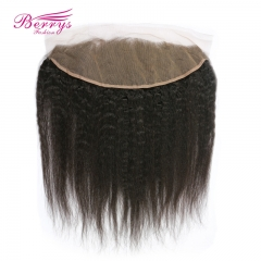 Brazilian kinky straight lace frontal 13*4 human hair lace frontal bleached knots, Brazilian Human Hair