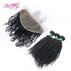 13*6 Lace frontal with Brazilian Virgin kinky curly 3pcs Hair, tight curl Hair Extensions TOP Qualit