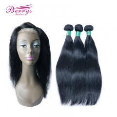 100% Virgin Human Hair Straight 3pcs Bundle with 1pcs 22*4 360 Lace Frontal