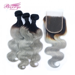 Brazilian 100% Virgin Human Hair 1B/grey hair Body Wave 3pcs Bundle with 1pcs 4*4 Closure Berrys Fashion Hair