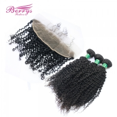 13*4 Lace Frontal Pre Plucked Brazilian Virgin Hair kinky 3pcs Hair Cheap Price Hair Extensions TOP