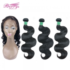 Brazilian Virgin hair Body Wave 3pcs Bundle with 1pcs Lace Frontal 22*4 360Lace Frontal