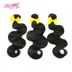 7A Indian Virgin Hair Body Wave 3pcs/lot 10in-26in natural color thick and soft Berrys Hair Products