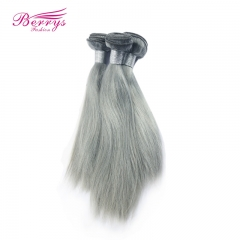 "Silky Silver Grey straight Hair Brazilian Remy hair 12""-24"" Berrys Fashion Hair Products 3pcs/lot"