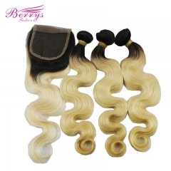Berrys Fashion Hair 1B/613 Brazilian Body Wave Virgin Hair 3pcs with 1 pcs Closure