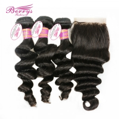 Peruvian Loose Wave 3 Bundles Human Hair with Lace Closure 4x4 Unprocessed Virgin Hair