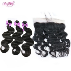 Pre-plucked Lace Frontal 13*4 with 3 pcs 100% Virgin Hair Body Wave Combodian bundles unprocessed Berrys Fashion Virgin Hair