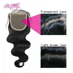Berrysfashion Virgin Hair Body Wave Top Transparent Lace Closure