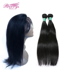 Straight Human Hair 2 Bundles + 22*4 360 Frontal Virgin Human Hair 2pcs with 1pc 360 Frontal Unprocessed Berrys Hair Products