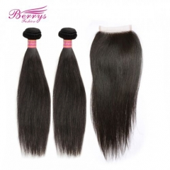 Straight Human Hair 2 Bundles + 4* 4 Closure Unprocessed Berrys Hair 100% Unprocessed Hair Products