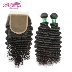 Brazilian Deep Wave Hair 2 Bundles +4*4 Closure Unprocessed Berrys 100% Virgin Human Hair Products