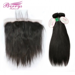 Brazilian Straight Human Hair 2 Bundles + Lace 13*6 Frontal 100% Unprocessed Berrys Hair Product no Tnagle No Shedding