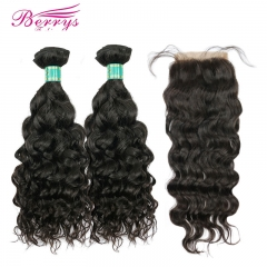 Brazilian Water Wave Hair 2 Bundles +4*4 Closure Unprocessed Berrys 100% Virgin Human Hair Products No Tangle No Shedding No Bad Smells
