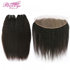 Berrys Fashion Hair Kinky Straight 2 Bundles + 1 Frontal,100% Virgin Human Hair with Bleacked Knots,No Tangle No Shedding