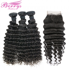 3 Bundles Deep Wave Brazilian Remy Hair With Closure Unprocessed 100% Remy Hair with 4x4 Lace Closure