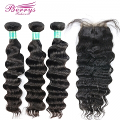 Berrys Fashion 3 Bundles Loose Wave 100% Virgin Hair With with 4x4 Lace Closure