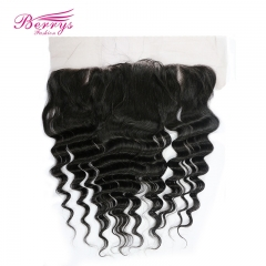 Free Shipping Loose Wave 13*4 Lace Frontal 100% Virgin Hair  with Bleached Knots and Natural Hair Line Berrys Fashion Hair