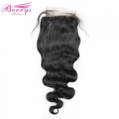 [Berrys Fashion] Lace Closure Body Wave Bleached Knots 4*6 Lace Unprocessed Virgin Human Hair Free Part Brazilian Body Closure