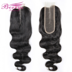 Berrys Fashion] Body Wave Medium Part 2*6  Lace closure Brazilian 100% Human hair 8-22 inches Natural Hairline bleached knots