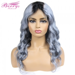 New Arrival Very Popular Body Wave Wig in Summer  1b Grey Color Frontal Lace Wig 130% Density  with Affordable Price 100% Remy Hair