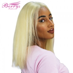 Short Bob Straight 613 Blonde Lace Frontal Wigs PrePlucked Brazilian Virgin Lace Front Human Hair Wigs For Women 180% Density